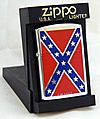 Zippo Windproof Cigarette Lighter - Confederate Battle Flag, Mint Condition, Made In USA, Copyright 1995 (16239216360).jpg