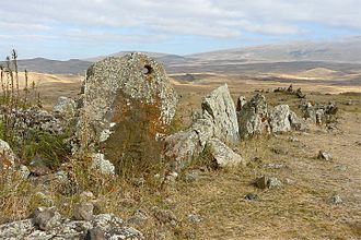 Zorats Karer - Image: Zorats Karer 2008, standing stones with hole