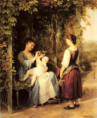Tickling - Tickling The Baby by Fritz Zuber-Buhler