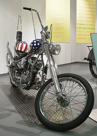 "Peter Fonda - Replica of the ""Captain America"" Harley-Davidson chopper which Fonda rode in Easy Rider (1969), on display in a German museum."