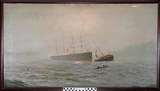 RMS Oceanic (1870) - A painting of RMS Oceanic (left) standing by the sinking SS City of Chester after their collision on 22 August 1888.