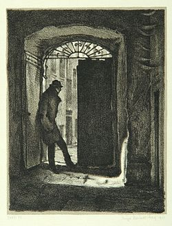 """Student Charousek"", page 9 from the book ""Der Golem"", illustrated by Hugo Steiner-Prag"