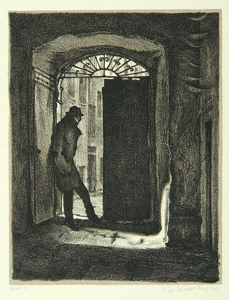 "File:""Student Charousek"", page 9 from the book ""Der Golem"", illustrated by Hugo Steiner-Prag.jpg"
