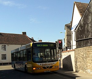 Galloway European - Wright Cadet bodied DAF SB120 in Stowmarket in March 2012
