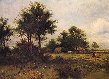 A pastoral oil painting, with warm tones. In the foreground, there are small flowers near a murky pond. A dark patch of trees divides them from the black field workers who are working in the sunlight further back. A cart full of hay stands against another set of trees.