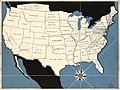 (Map showing) research service to 40 Federal Theatre units, research service to 5 Federal Theatre regions, research on the subject of the American theatre in 48 states LOC 2010594448.jpg