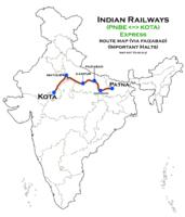 (Patna - Kota) Express (via Faizabad) Route map.png