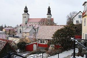 Visby - General view towards the Cathedral from Övre Finngränd on Klinten
