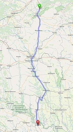 М-19 на мапі Тернопільщини