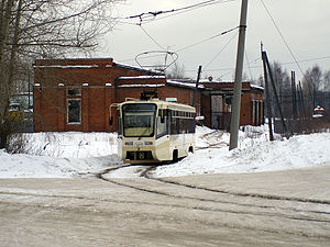 Trams in Volchansk - Volchanka depot with a KTM-19 tram