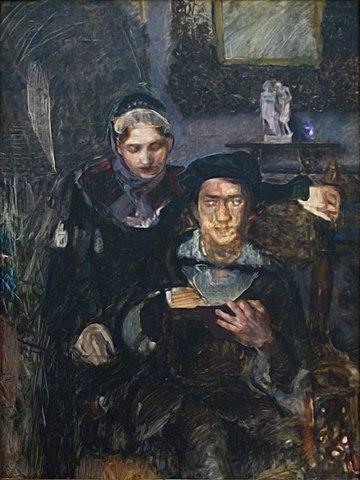 Гамлет и Офелия. Второй вариант (1884). Для Гамлета позировал В. Серов, для Офелии— М. Симонович