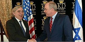 Yuval Steinitz - US Energy Secretary Ernest Moniz and Steinitz in Jerusalem, April 2016