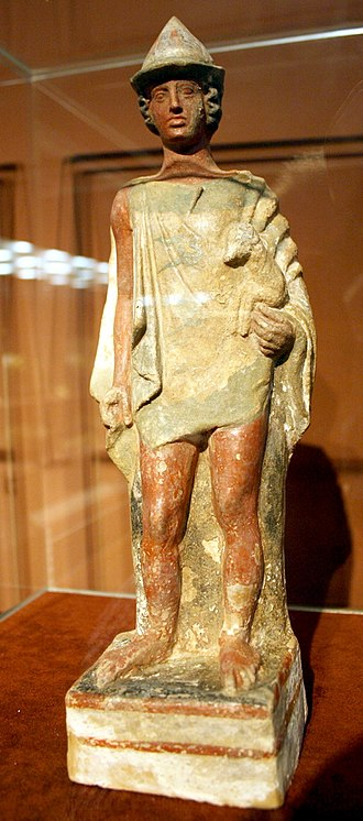 Tanagra - Ancient terracotta figurine from Tanagra, National Archaeological Museum of Athens
