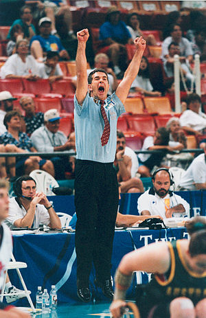 Australia women's national wheelchair basketball team - Peter Corr, Head Coach of the Australian women's wheelchair basketball team, the Gliders, celebrates at 1996 Atlanta Paralympics