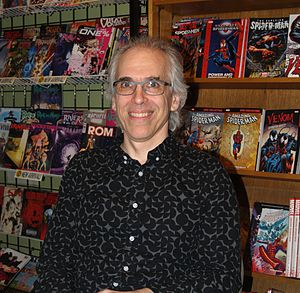 Robert Sikoryak - Sikoryak at a signing at JHU Comics in Manhattan for The Unquotable Trump, on the day of President Trump's inauguration