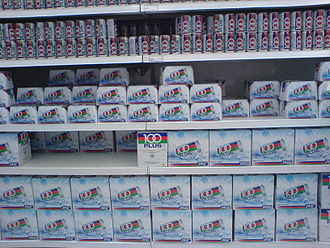 100plus - Boxes of 100plus stacked up in a Giant Hypermarket