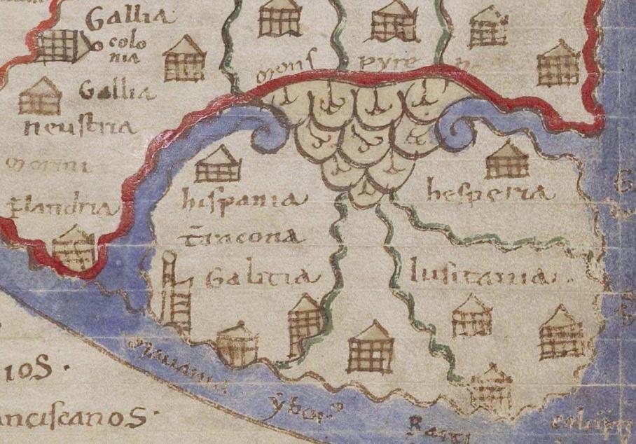 Detalle do mapa recollido no Liber Floridus de Lambert de Saint-Omer, onde poden verse o nome de Galitia, Hispania, Wascona e Lusitania entre outros. Ano 1125.