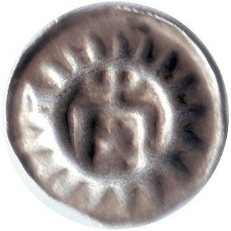 Bracteate - Medieval silver bracteate, hollow one-penny (Hohlpfennig), 15th century, Hamburg.