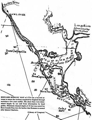 Charlotte Harbor (estuary) - 1774 Map of Charlotte Harbor by Bernard Roman