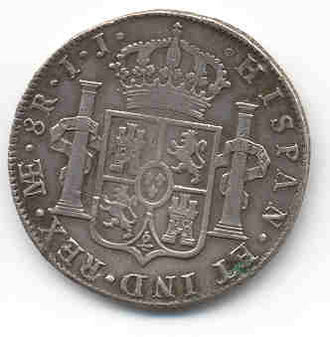 Spanish real - Spanish 1799 silver real, Charles IV (reverse)