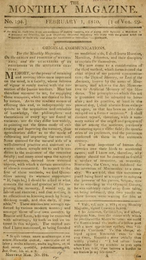 Monthly Magazine - Monthly Magazine, 1810 (John Adams Library, Boston Public Library)