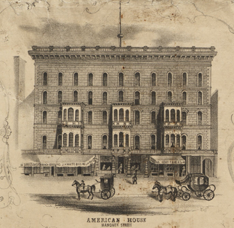American House (Boston) - Image: 1852 American House Boston Mc Intyre map detail