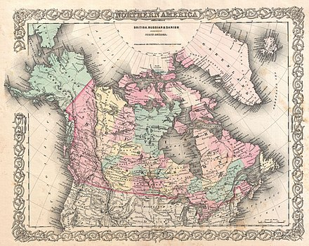 1855 Map of Northern America, by Joseph Colton, showing Canada East and Canada West 1855 Colton Map of British North America or Canada - Geographicus - Canada-colton-1855.jpg