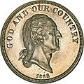 "1866 obverse, Washington with motto ""God and Our Country"""