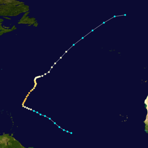 1884 Atlantic hurricane season - Image: 1884 Atlantic hurricane 2 track