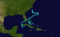 1892 Atlantic tropical storm 1 track.png
