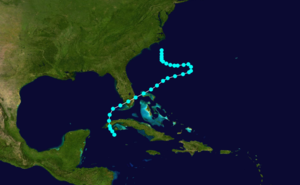 1892 Atlantic hurricane season - Image: 1892 Atlantic tropical storm 1 track