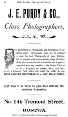 1896 J E Purdy and Co photographers advert Boston USA.png