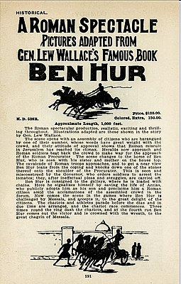 Price for a hand-colored print of Ben Hur in 1908 1908 film-supply catalog with prices for the Kalem release Ben Hur.jpeg