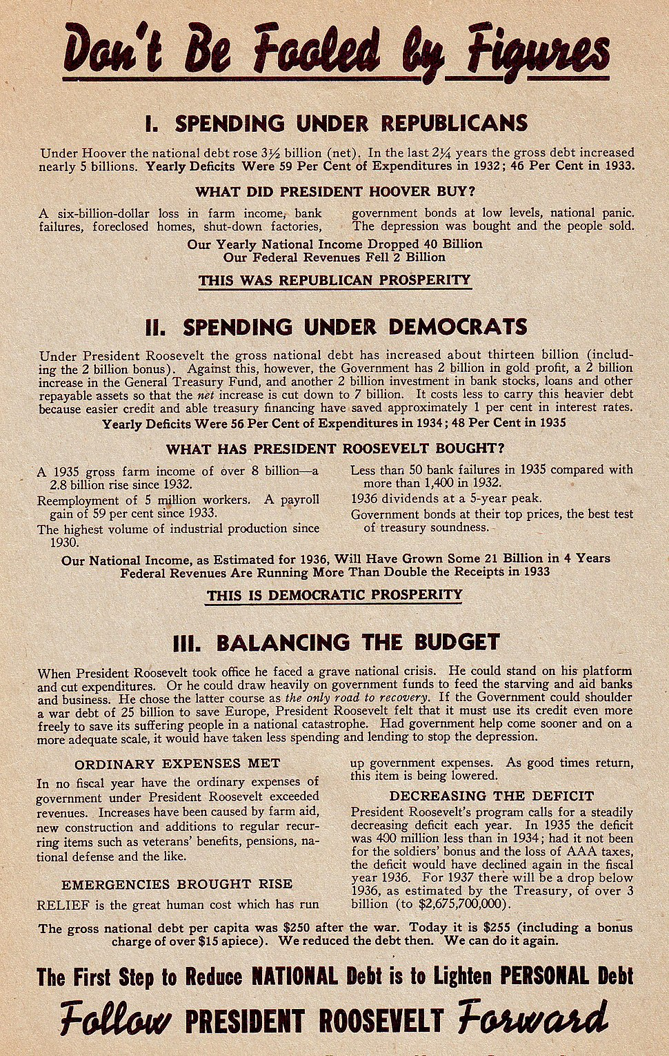 "1936 FDR ""Don't Be Fooled by Figures"" Re-election handbill"