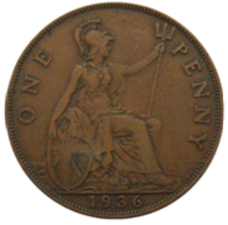 Penny (British pre-decimal coin) - Image: 1936 George V penny reverse