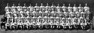1937 Pittsburgh Panthers football team - The 1937 undefeated National Championship Pitt team. Members included in the picture are: Horton, Yocos, Kapurka, Soroka, Shea, Fleming, Herlinger, Shord, Stapulis, Goodell, Cassiano, Dalle Tezze, Goldberg Barr, Kish, Daddio, Urban, Curry, Peace, Schmidt, Raskowski, Morrow, Klein, C. Cambal, Richards, Patrick, Shaw, Grossman Musulin, Walton, Michelosen, Adams, Lezouski, Stebbins, Asavitch, Merkovsky, Hensley, Souchak, Delich, Miller, Etze, Sutherland Petro, Farkas, J. Cambal, Corace, Chickerneo, Naric, Holt, Spotovich, Hafer, Dannies, Fullerton, Berger, Jackman, Kristufek, Dickinson