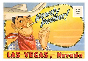 Vegas Vic - 1948 Postcard of Vegas Vic's first use