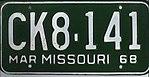 1968 Missouri license plate CK8-141.jpg