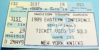 1988–89 NBA season - A ticket for Game 1 of the 1989 Eastern Conference Semifinals between the New York Knicks and the Chicago Bulls.