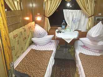1st class two berth sleeper Kiev to Moscow 1st class two berth sleeper Kiev to Moscow (11386515956).jpg