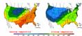 2002-10-03 Color Max-min Temperature Map NOAA.png