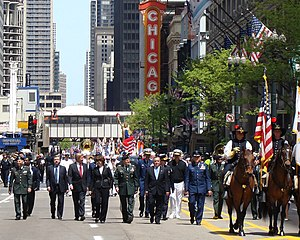 State Street (Chicago) - Chief of Staff of the United States Army Gen. George W. Casey, Jr., Chicago Mayor Richard M. Daley, and other officials during May 24, 2008 Memorial Day parade on State Street