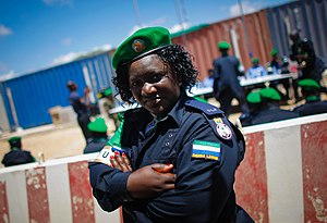Sierra Leone Police - A Sierra Leone Police officer of the AMISOM police contingent in Mogadishu.