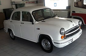 2013 Hindustan Ambassador Grand in showroom, front right.jpg