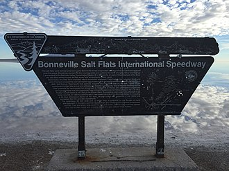 Bonneville Speedway - BLM interpretive sign at the Bonneville Salt Flats Rest Area on westbound Interstate 80, September 2015
