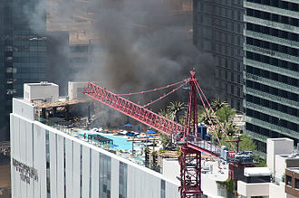 Cosmopolitan of Las Vegas - The July 2015 fire at the Cosmopolitan, seen from the rooftop terrace of Marriott's Grand Chateau. The picture was taken twenty minutes after the fire was reported.