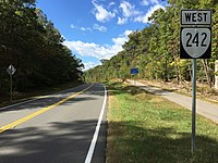 2016-10-22 13 59 50 View west along Virginia State Route 242 (Gunston Road) just east of Springfield Drive in Mason Neck, Fairfax County, Virginia.jpg