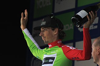 2016 Tour of Britain - Image: 2016 Tour of Britain leader sprints competition after stage 5 Jasper Bovenhuis