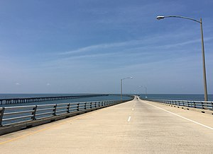 2017-07-12 11 23 10 View south along U.S. Route 13 (Chesapeake Bay Bridge-Tunnel) crossing the North Channel of the Chesapeake Bay in Northampton County, Virginia.jpg