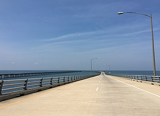 Chesapeake Bay Bridge–Tunnel - Coming down from the high-level portion near the north end.